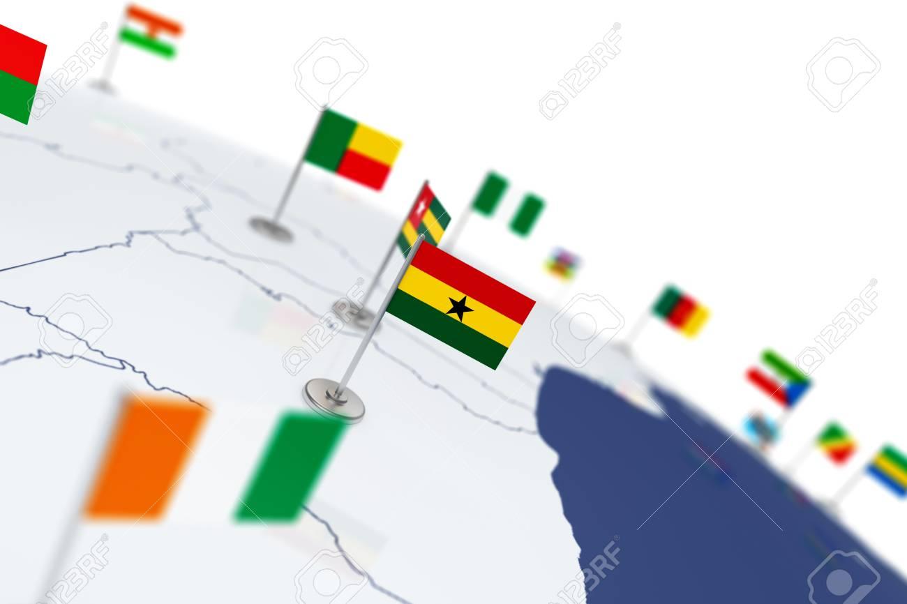 Ghana flag country flag with chrome flagpole on the world map ghana flag country flag with chrome flagpole on the world map with neighbors countries borders gumiabroncs Image collections