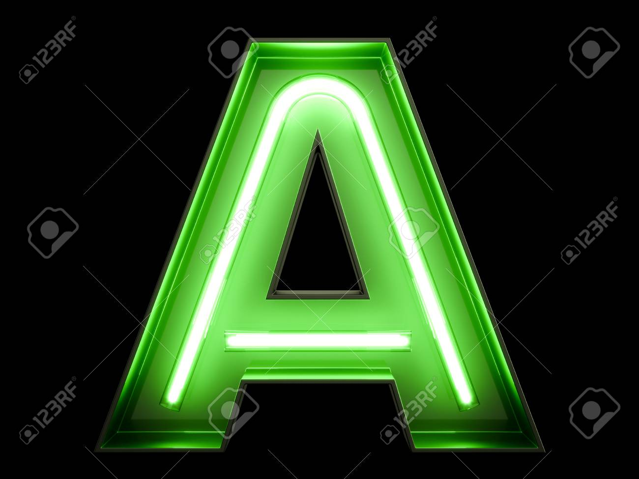 Neon green light alphabet character A font. Neon tube letters glow effect on black background. 3d rendering - 97506736