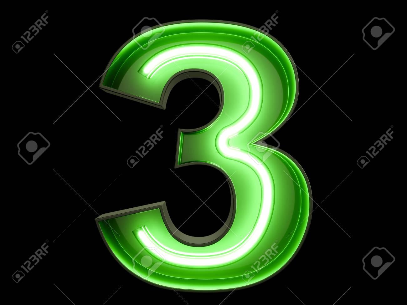 Neon Green Light Glowing Digit Alphabet Character 3 Three Font