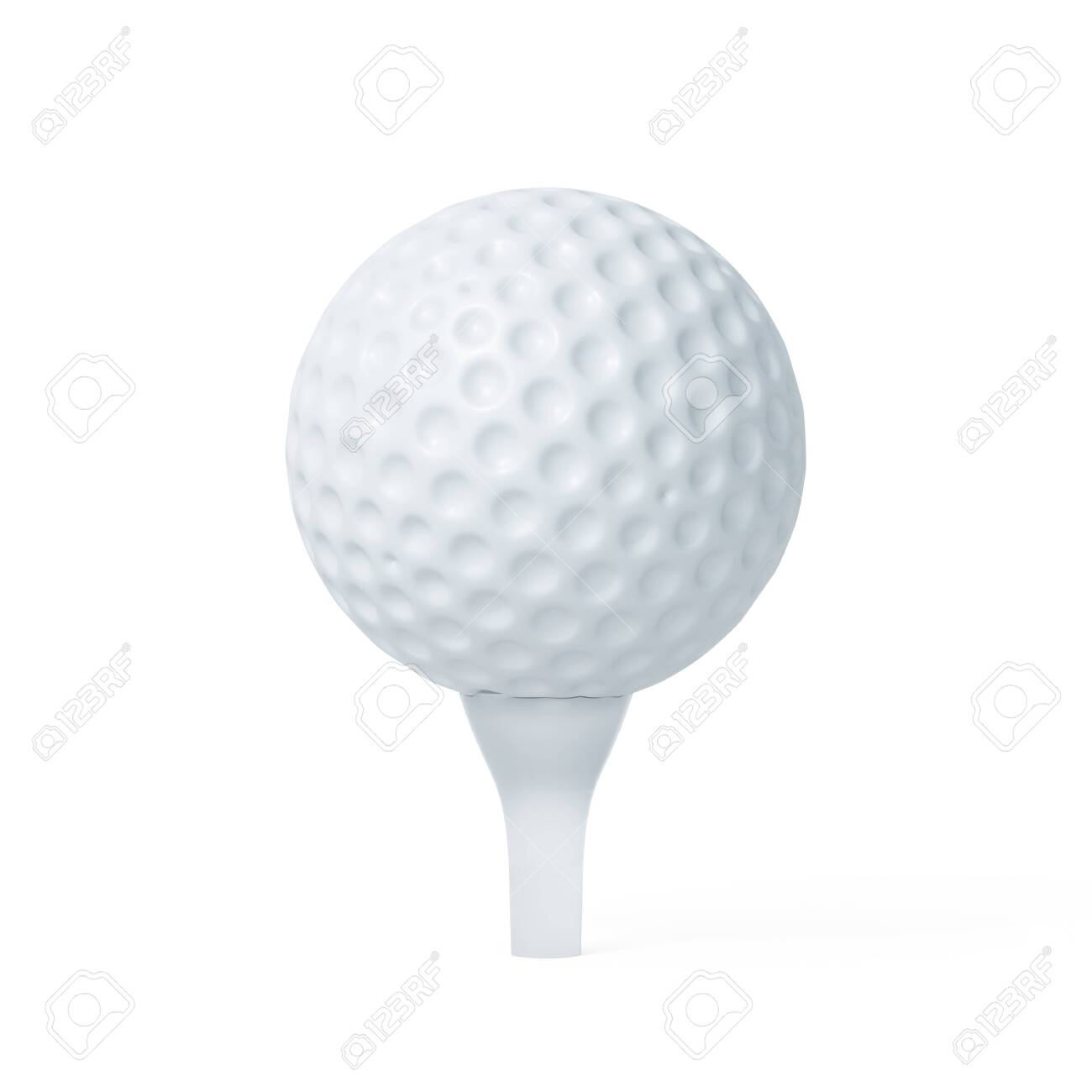 Golf ball on tee ready to be shot. Soft focus 3d renderin illustration isolated on white background - 127060901