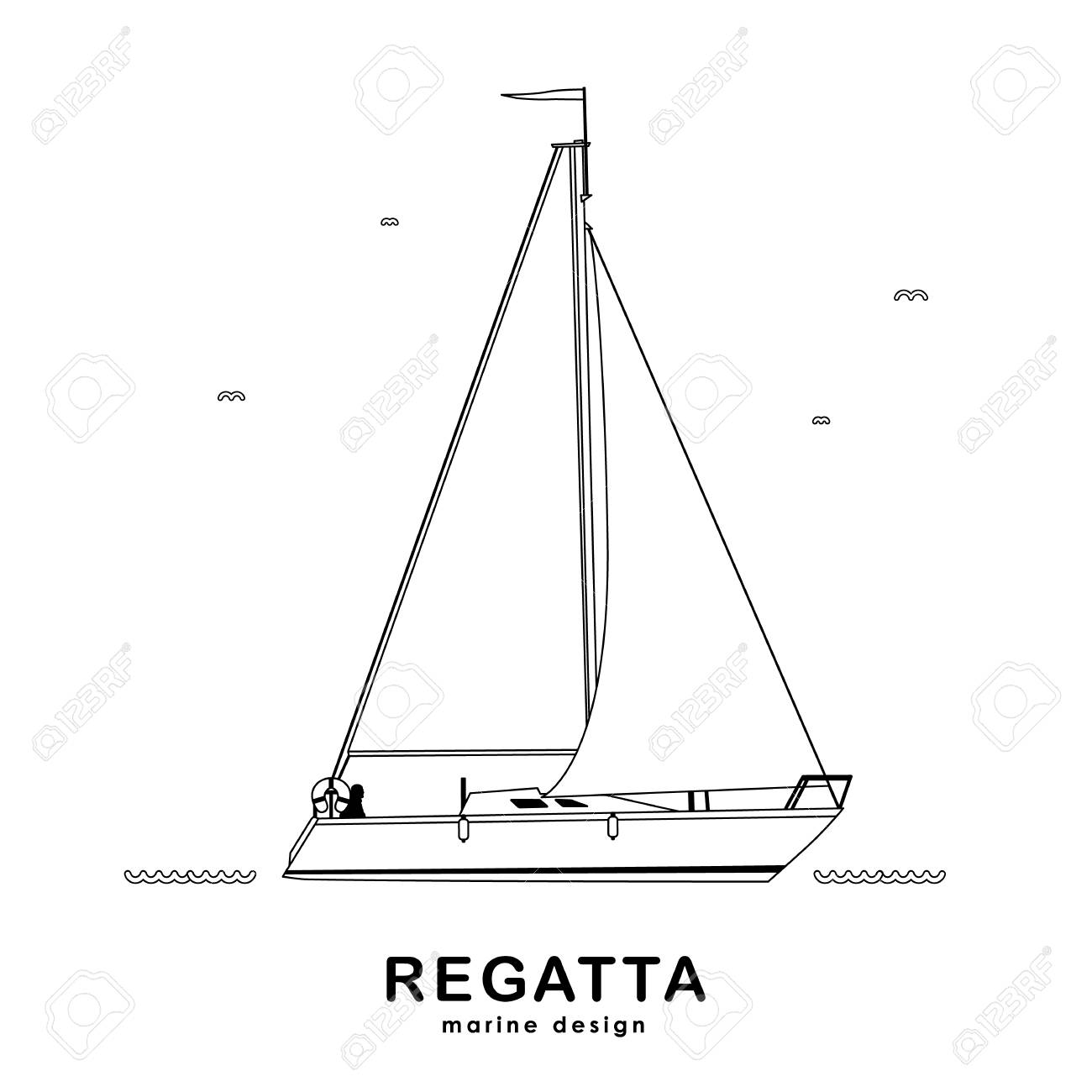 Vector illustration: Isolated yacht on white background. Line design. - 94312242
