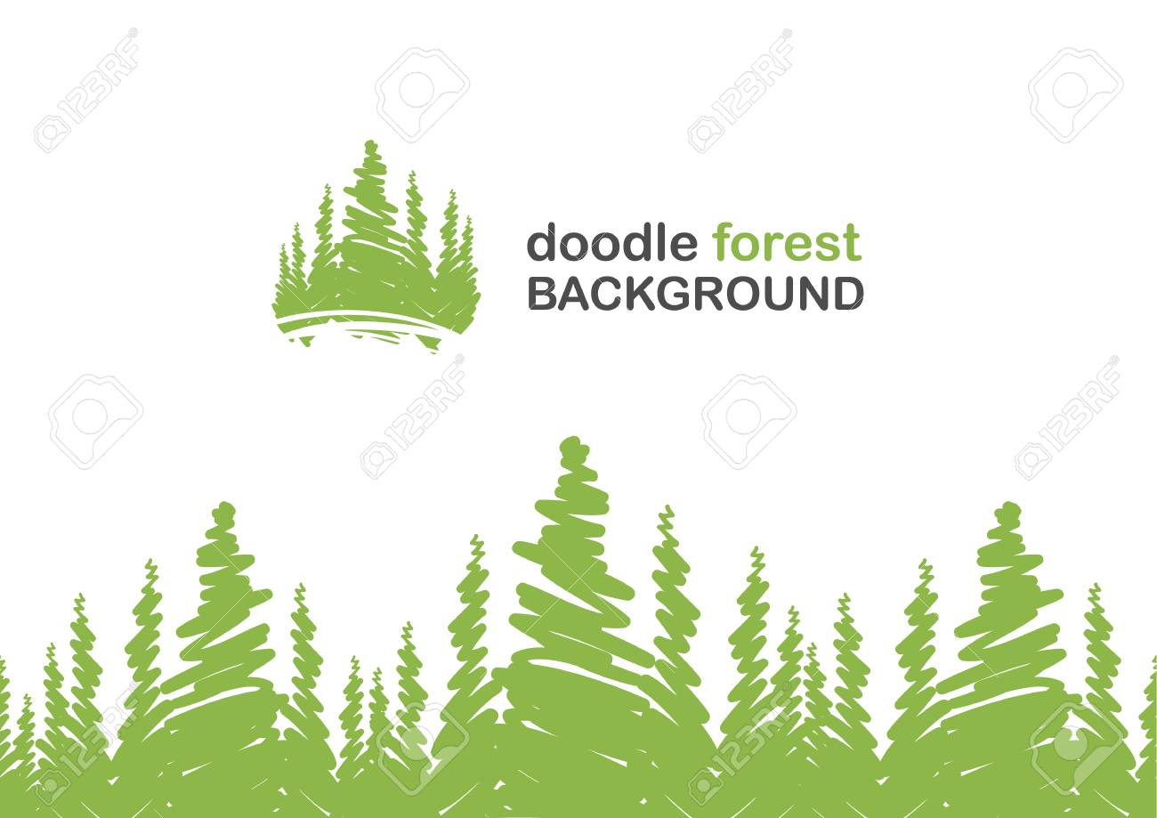 Vector illustration: Seamless background with doodle of pine forest. - 94314057