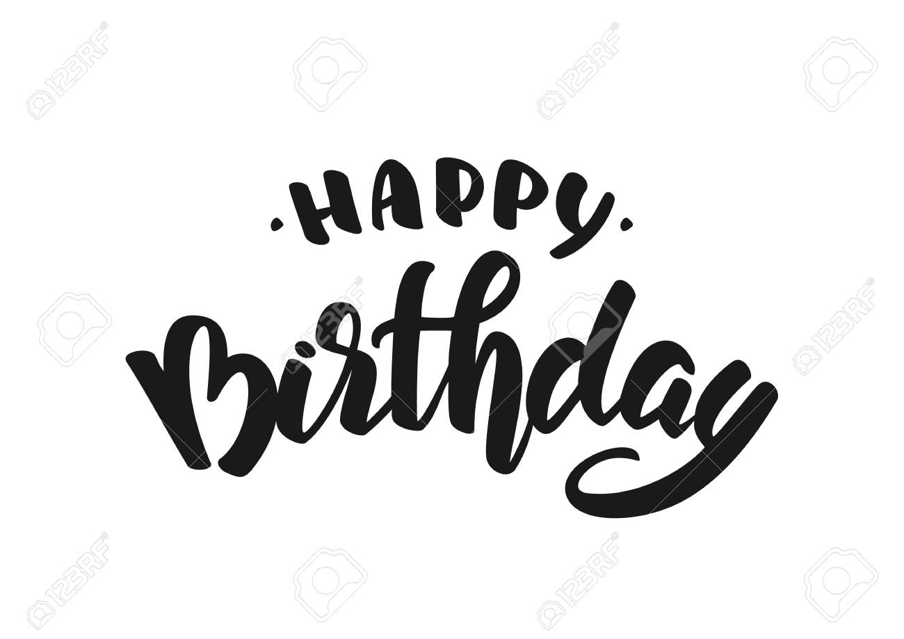 Vector illustration: Hand drawn doodle brush lettering of Happy Birthday. - 94514577