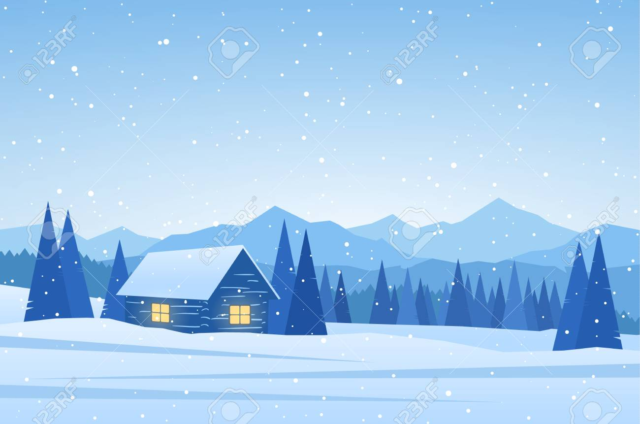 Winter Mountains landscape with house on foreground. - 94655093