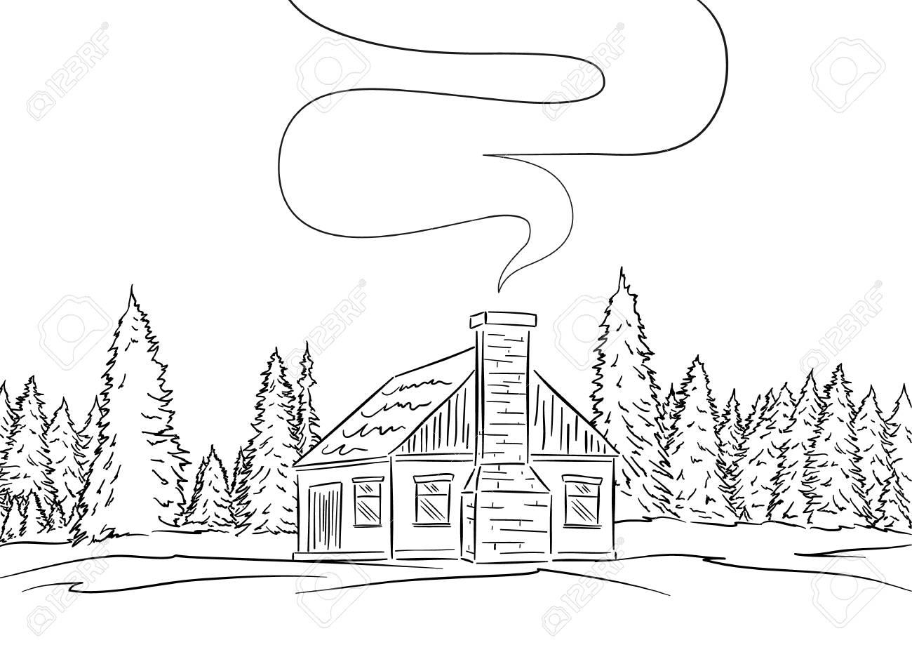 Ilustracao Do Vetor Entregue A Paisagem Tirada Com A Floresta Da