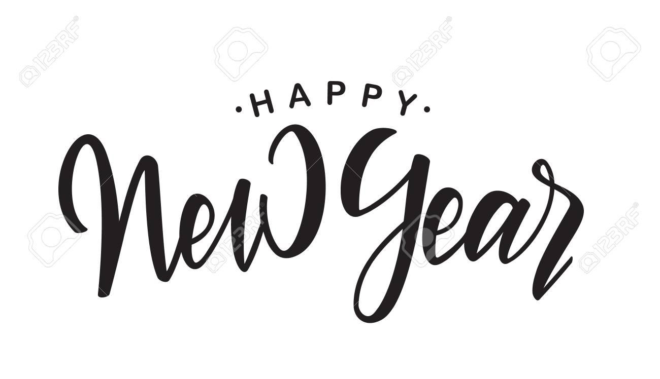 handwritten elegant brush lettering of happy new year on white background stock vector 94696957