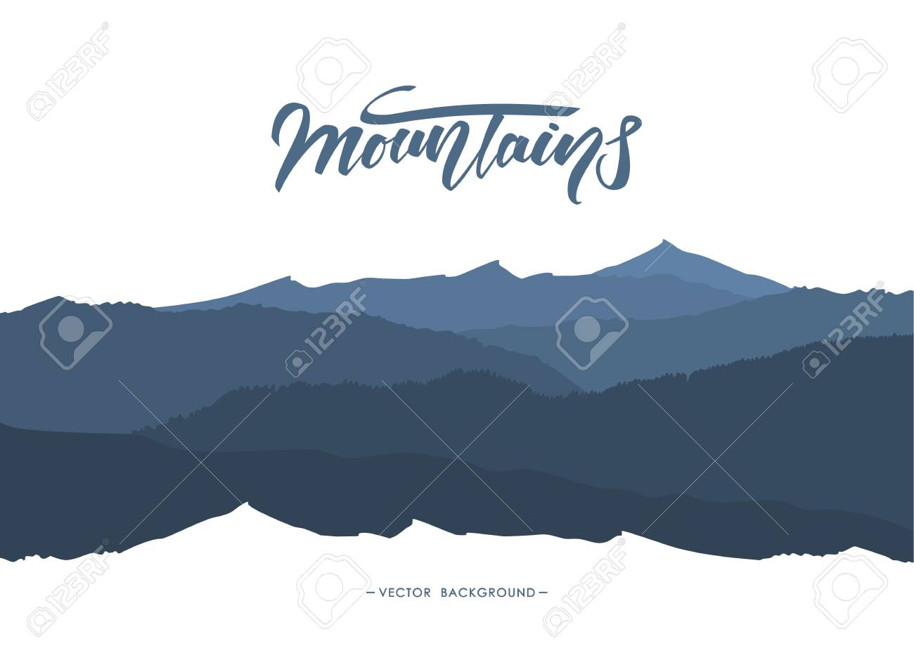 Abstract mountains background with Handwritten lettering emblem. Silhouette of landscape. - 94689074