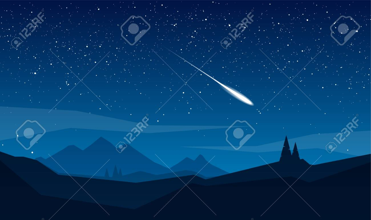 Night mountains landscape with stars and meteor. - 94722518