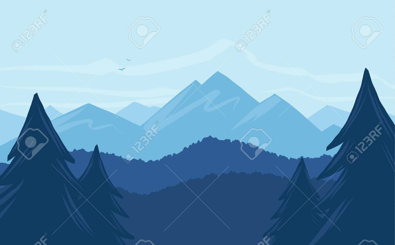Vector cartoon mountains landscape with silhouette of pines on foreground - 96327392