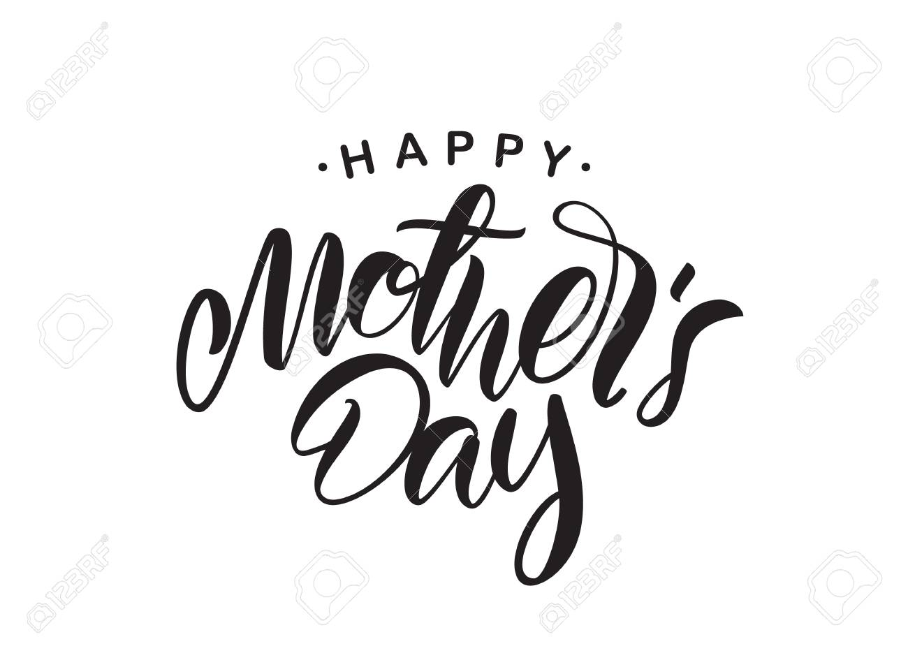 Vector illustration: Handwritten type lettering of Happy Mother's Day isolated on white background. - 97633667