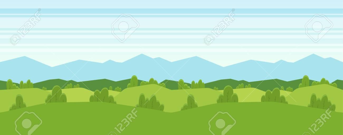 Vector illustration: Seamless cartoon mountains landscape for game design. Horizontal background - 97633825
