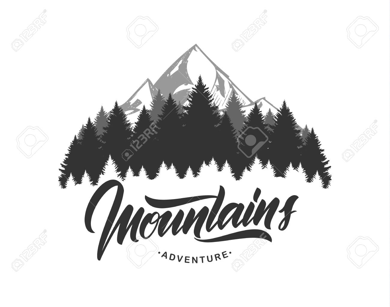 Vector illustration: Mountains emblem with handwritten type lettering. Typography design. - 102332152