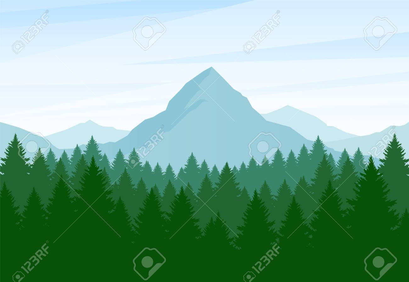 Vector illustration: Flat Summer Mountains landscape with pine forest and hills - 102332177