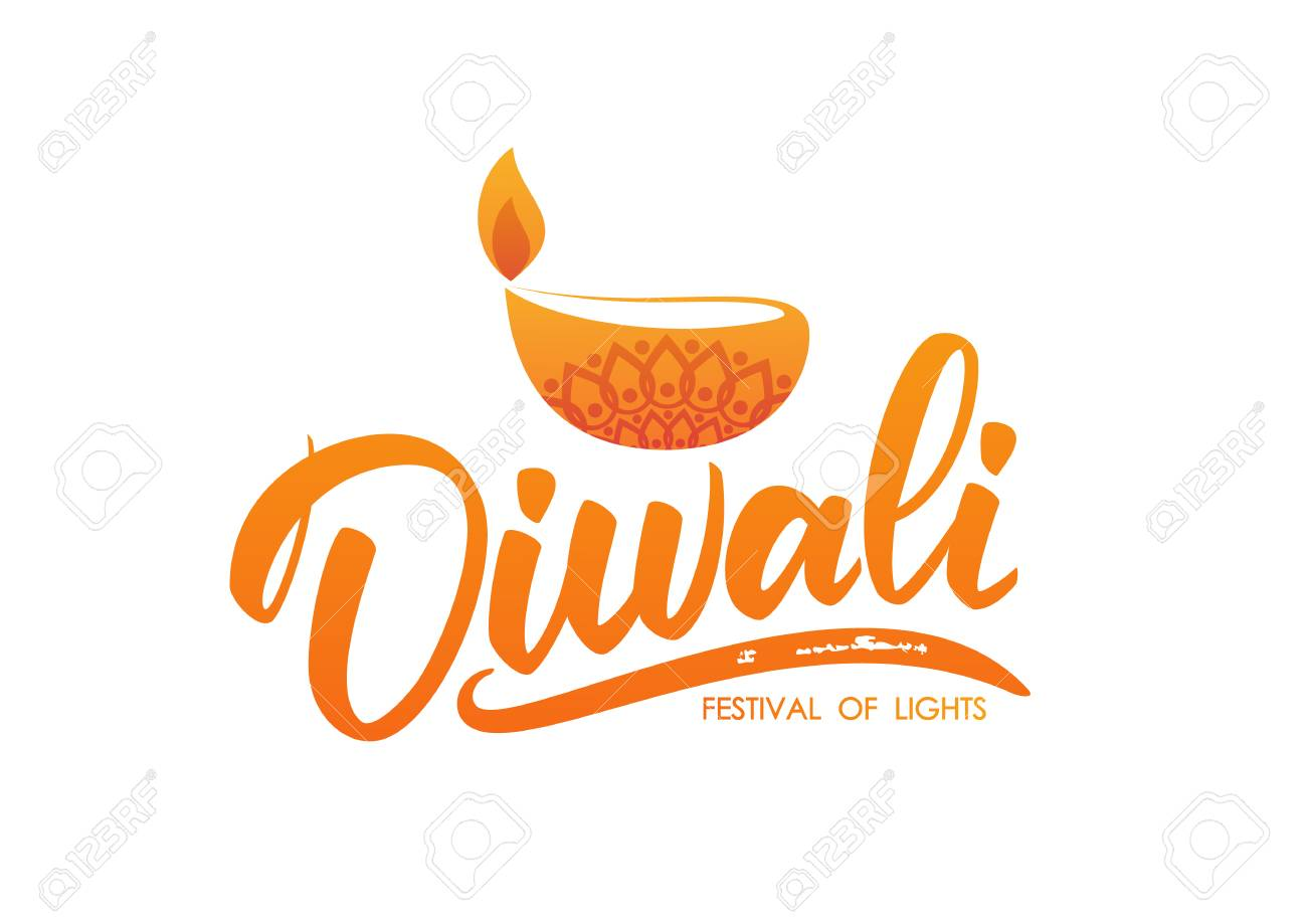 Happy Diwali Greeting Type With Oil Lamp And Flame Handwritten