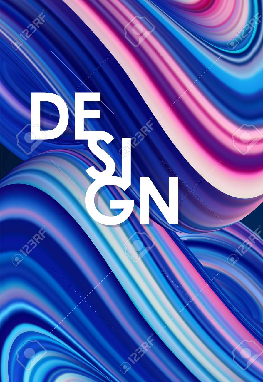Vector illustration: Blue neon colored abstract twisted wavy liquid background. Trendy poster design - 111995393