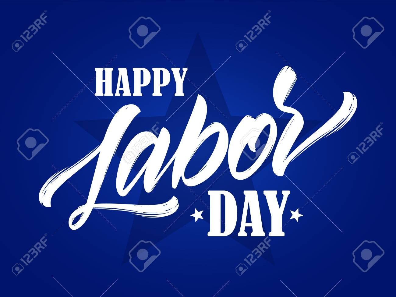 Vector illustration: Lettering composition of Happy Labor Day on blue background. - 106641086
