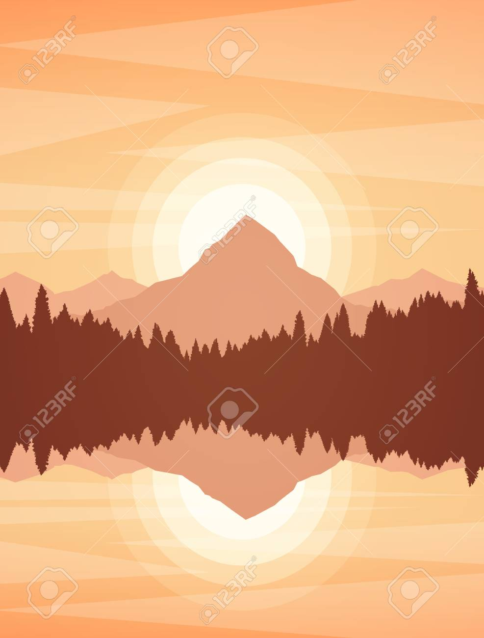 Vector illustration: Sunset or Sunrise Mountain Lake landscape with pine forest and reflection. - 124598697