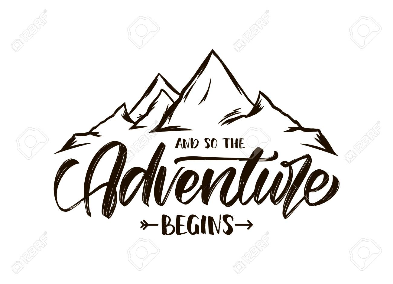 Vector illustration: Modern brush lettering of And so the Adventure Begins with Hand drawn Peaks of Mountains sketch - 122578912