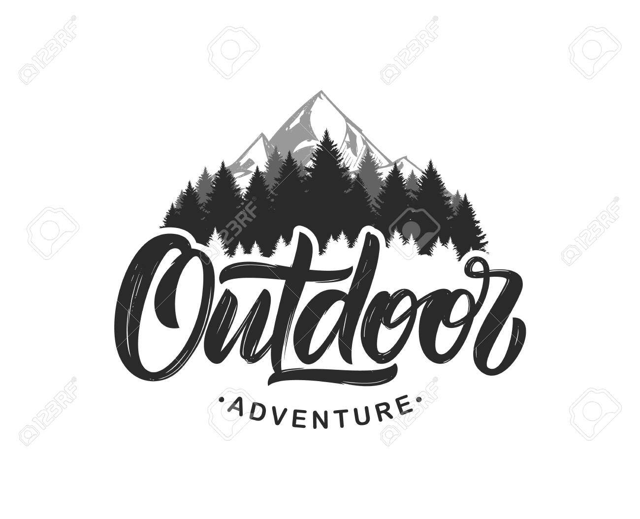 Vector illustration: Handwritten Modern brush lettering composition of Outdoor adventure with silhouette of pine forest and mountains. - 122578931