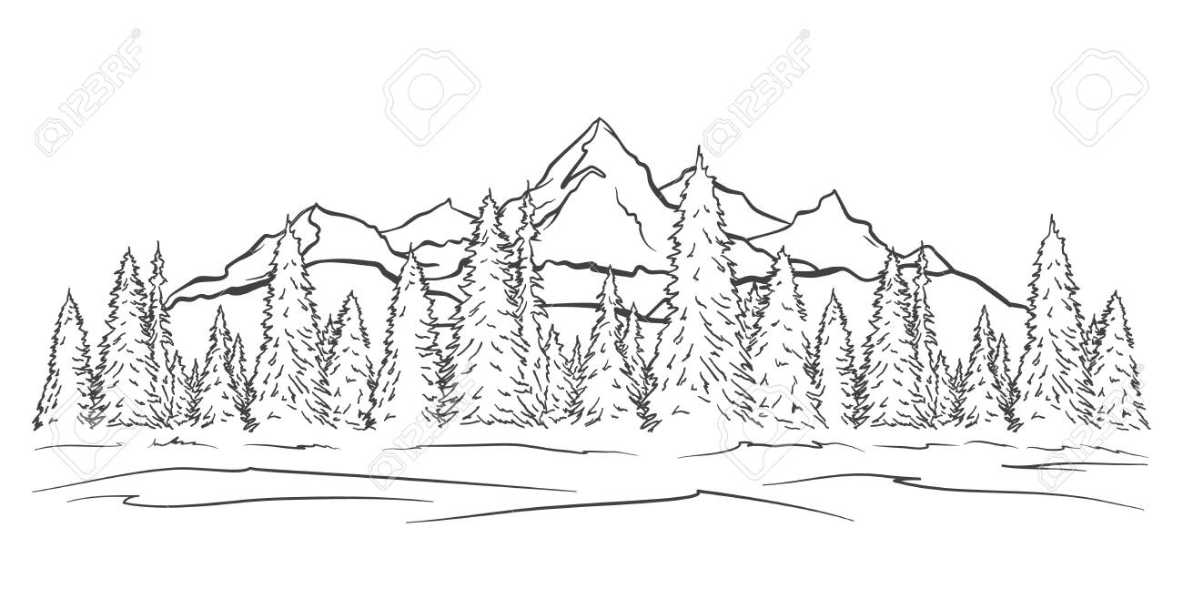 Vector illustration: Hand drawn Mountains sketch landscape with peaks and pine forest. Line design - 123363649