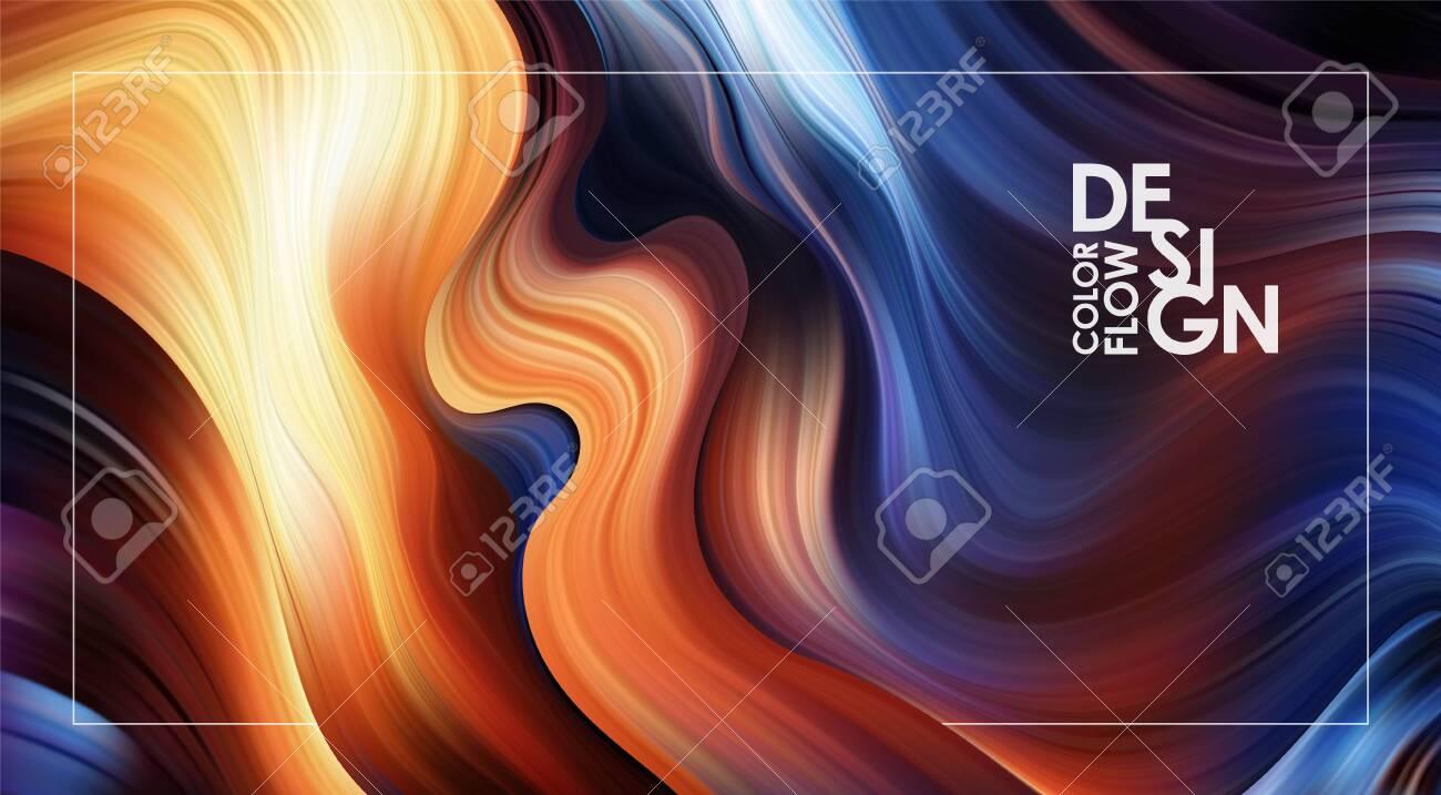 Vector illustration: Abstract Modern colorful flow background. Liquid Wave color paint shape. Art design - 125710652