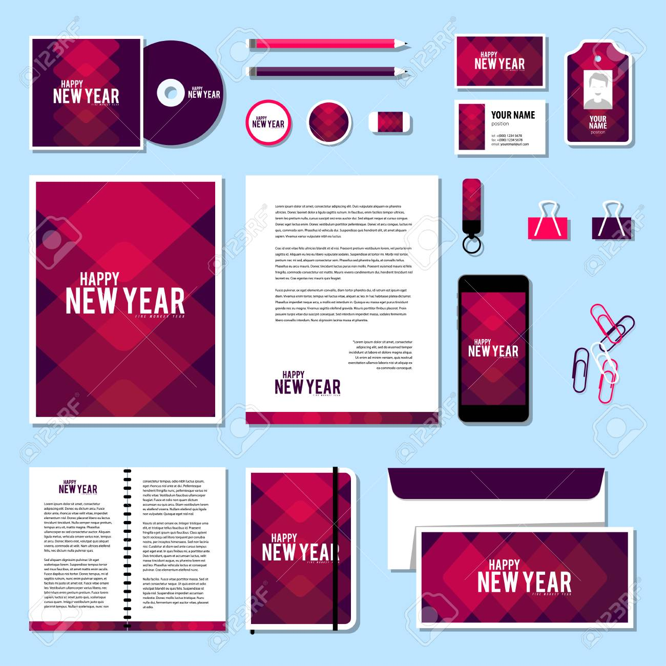 corporate identity business set design vector stationery template design with new year elements 2016