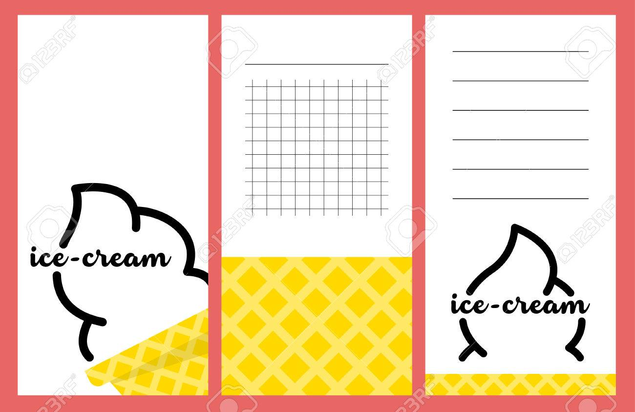 Collection Of Summer Ice-cream Cards, Notes, Stickers, Labels ...