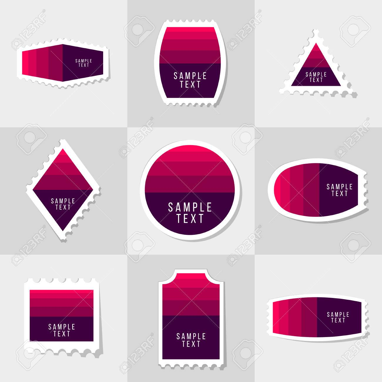 Collection Of Sample Logo And Text Postage Stamp, Cards, Notes ...