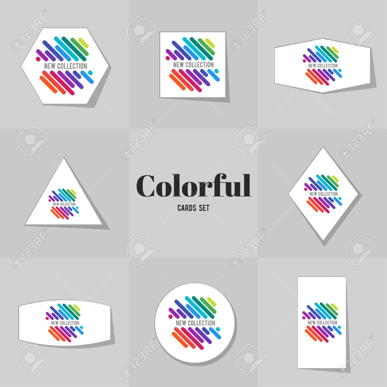 Collection Rainbowe Line Cards, Notes, Stickers, Labels, Tags ...