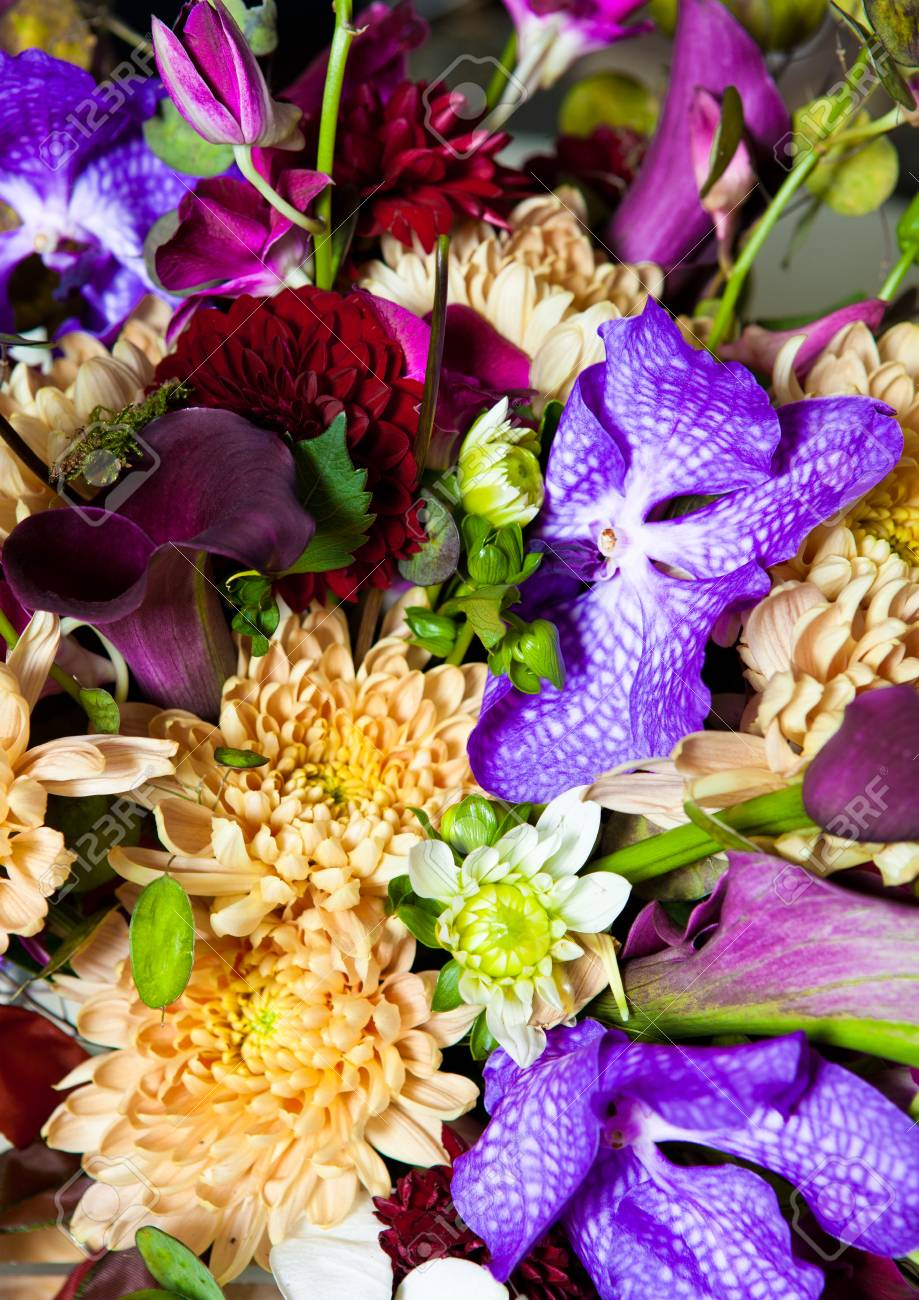 flowers bouquet mix with different colors different type of stock