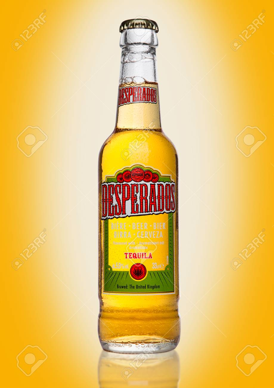 London Uk January 02 2017 Bottle Of Desperados Beer On Yellow Stock Photo Picture And Royalty Free Image Image 68399295