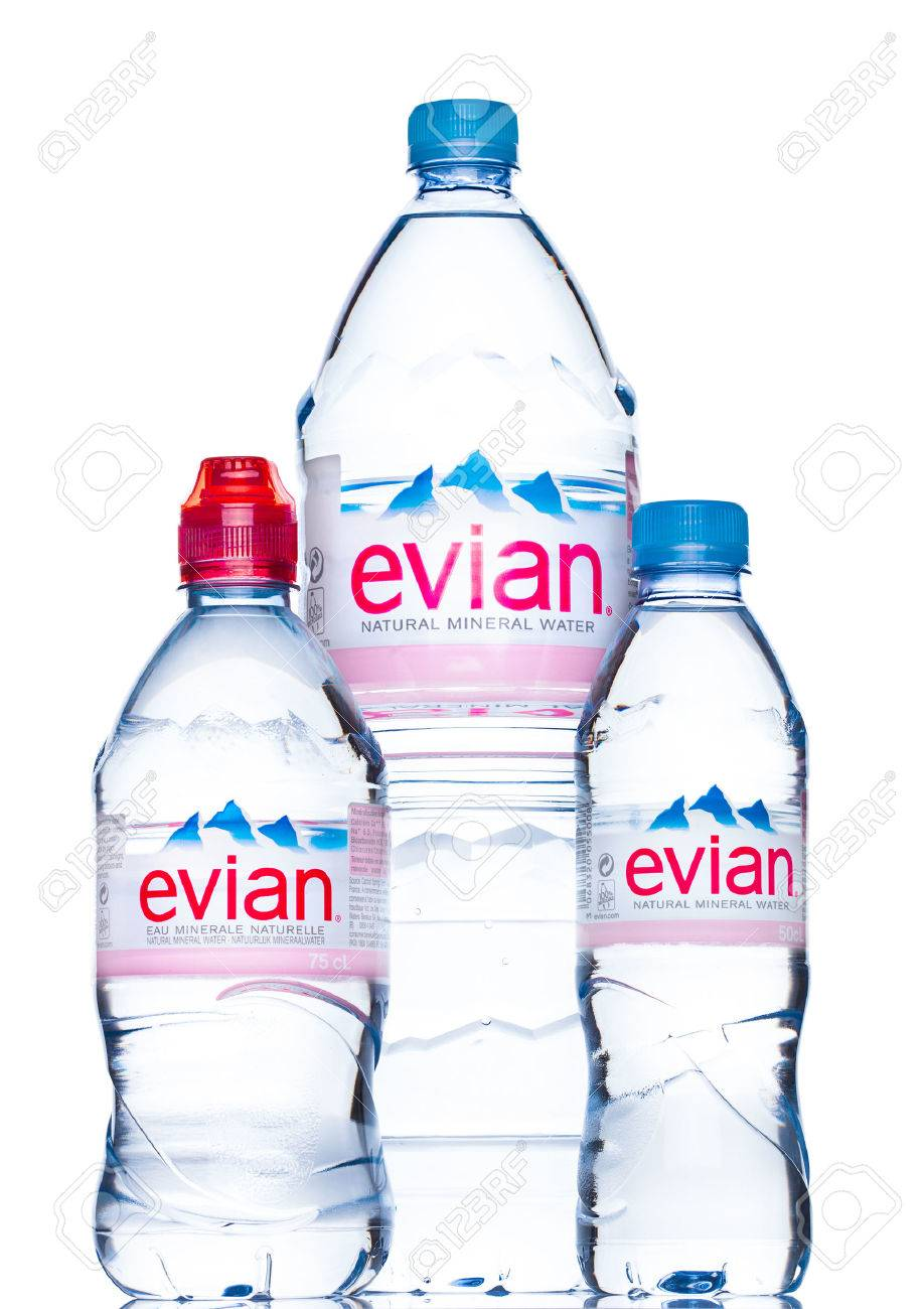 London Uk May 29 2017 Bottles Of Evian Natural Mineral Water Stock Photo Picture And Royalty Free Image Image 79205443