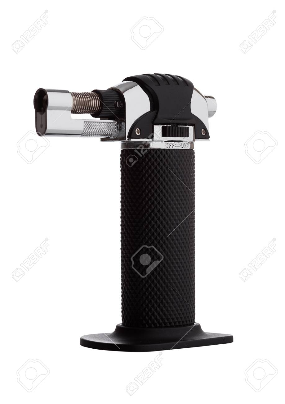 Kitchen mini blow torch with black handle on white background