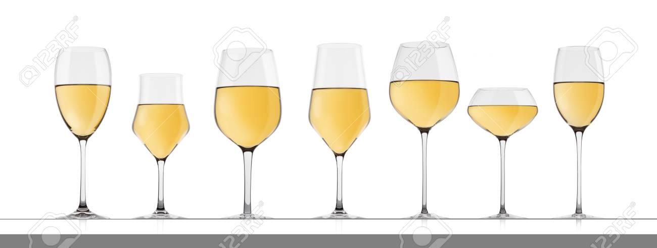 6f12587c65baa0 Glazen rode wijn geïsoleerd met reflectie op witte achtergrond. Verschillende  soorten brillen. Stockfoto -