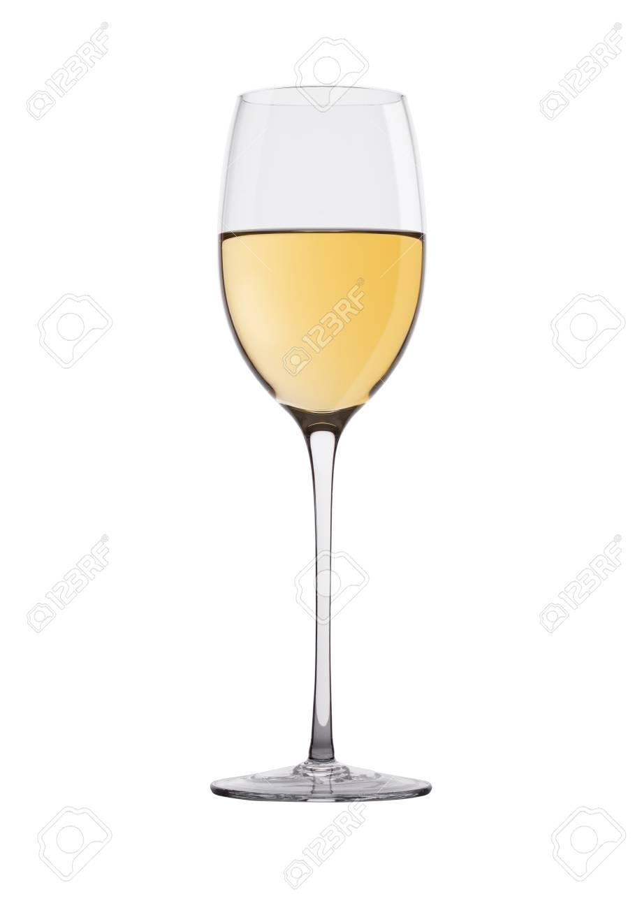 2b7e855b3a1395 Glas witte wijn geïsoleerd op wit Stockfoto - 89206768