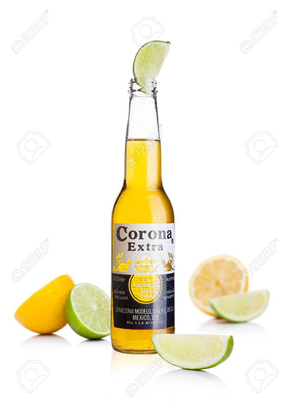 London Uk November 24 2017 Bottle Of Corona Extra Beer With Stock Photo Picture And Royalty Free Image Image 90484595