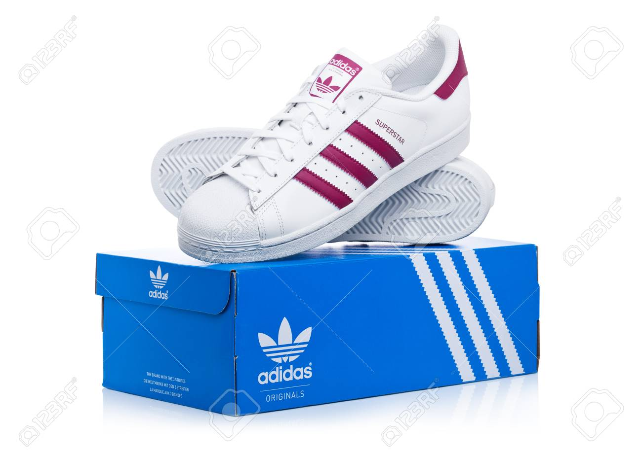 LONDON, UK JANUARY 12, 2018: Adidas Originals Superstar red..