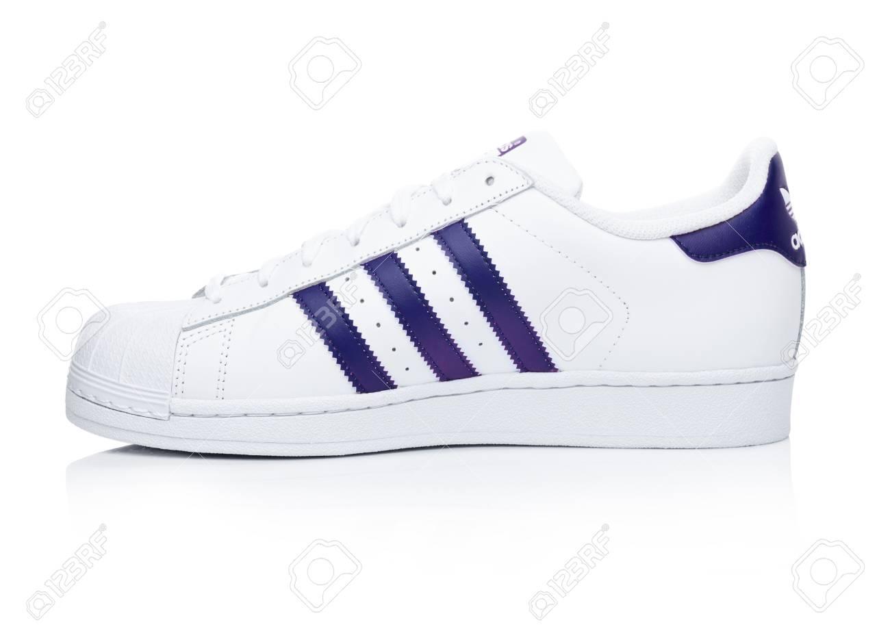 LONDON, UK JANUARY 24, 2018: Adidas Originals Superstar blue..