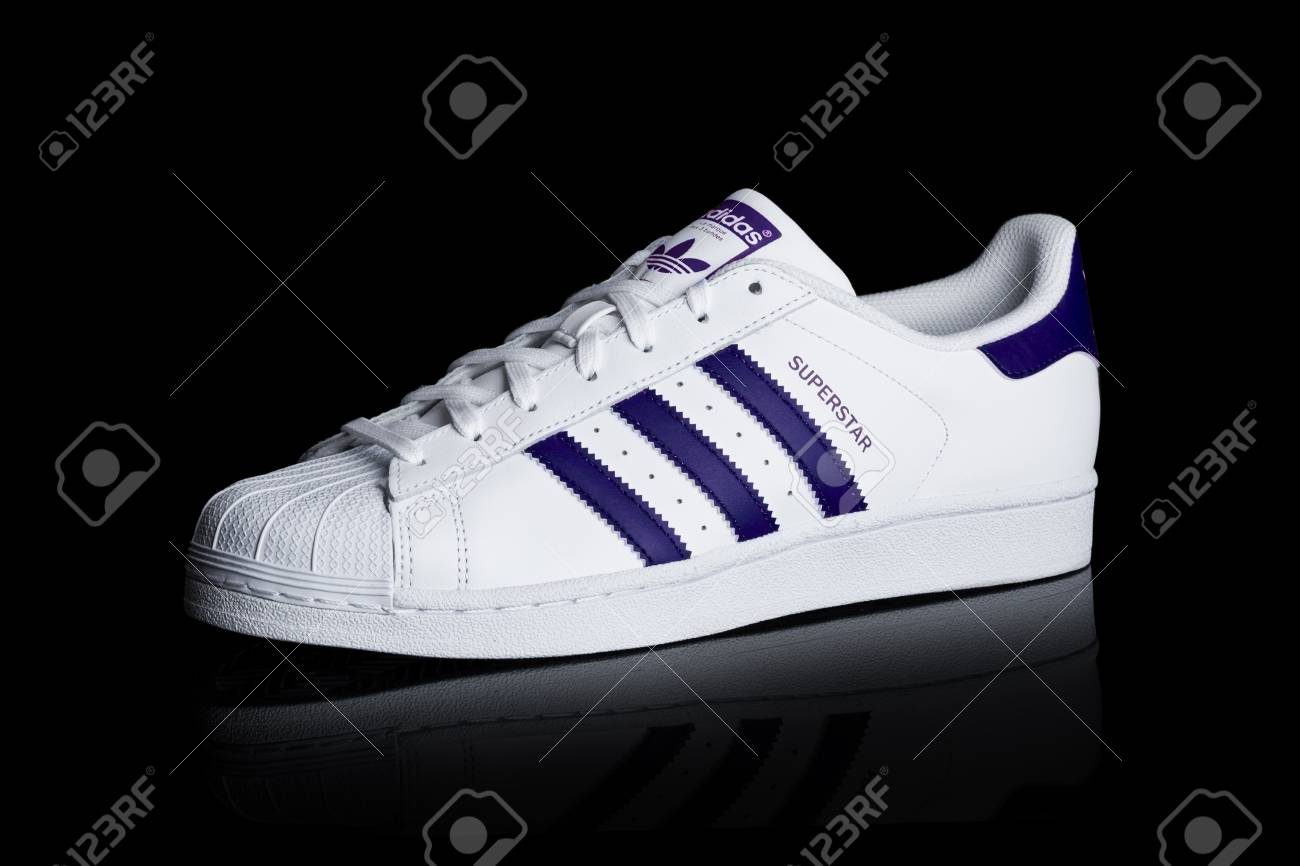 on sale 11070 651b1 LONDON, UK - JANUARY 24, 2018: Adidas Originals Superstar blue..