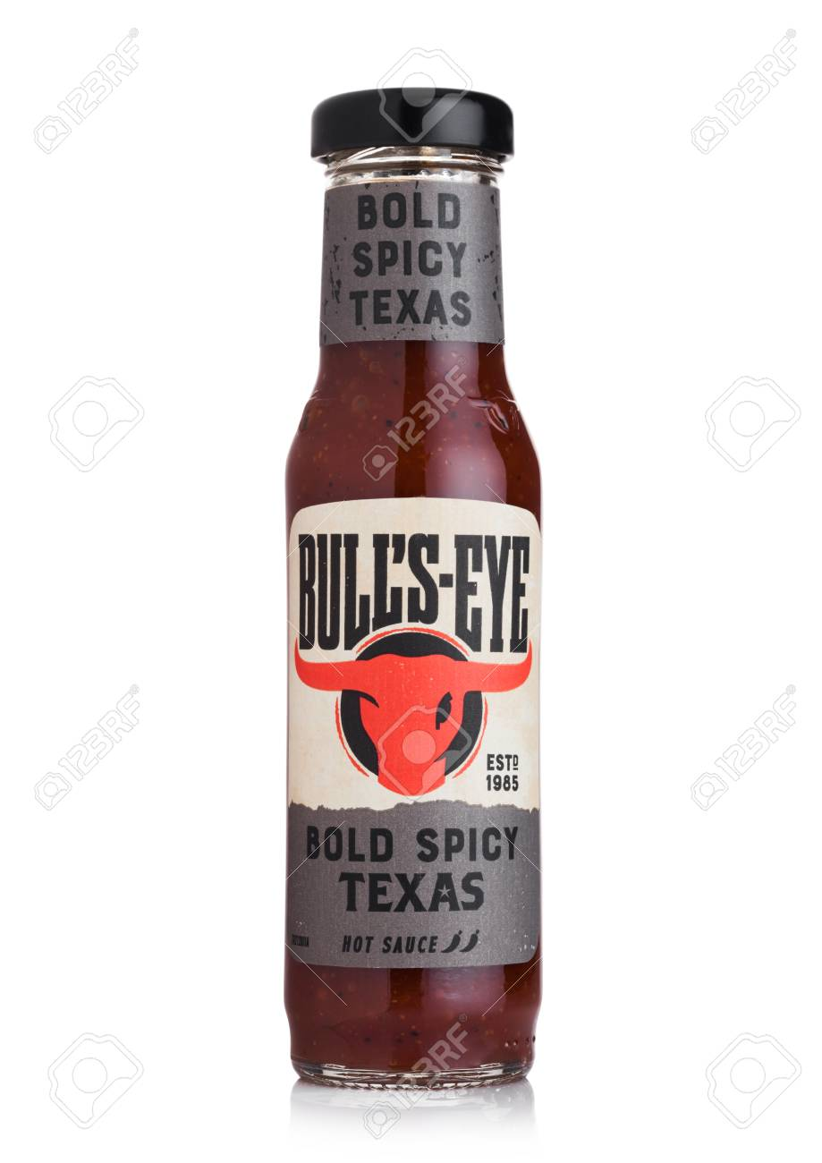 London Uk July 28 2018 Glass Bottle Of Bull S Eye Hot Sauce Stock Photo Picture And Royalty Free Image Image 111248304