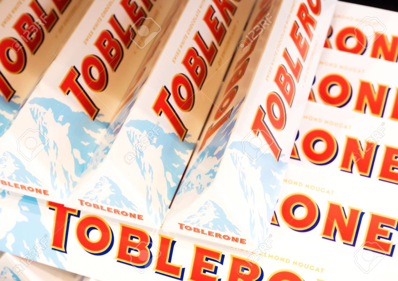 London Uk August 31 2018 Tubes Of Toblerone White Chocolate