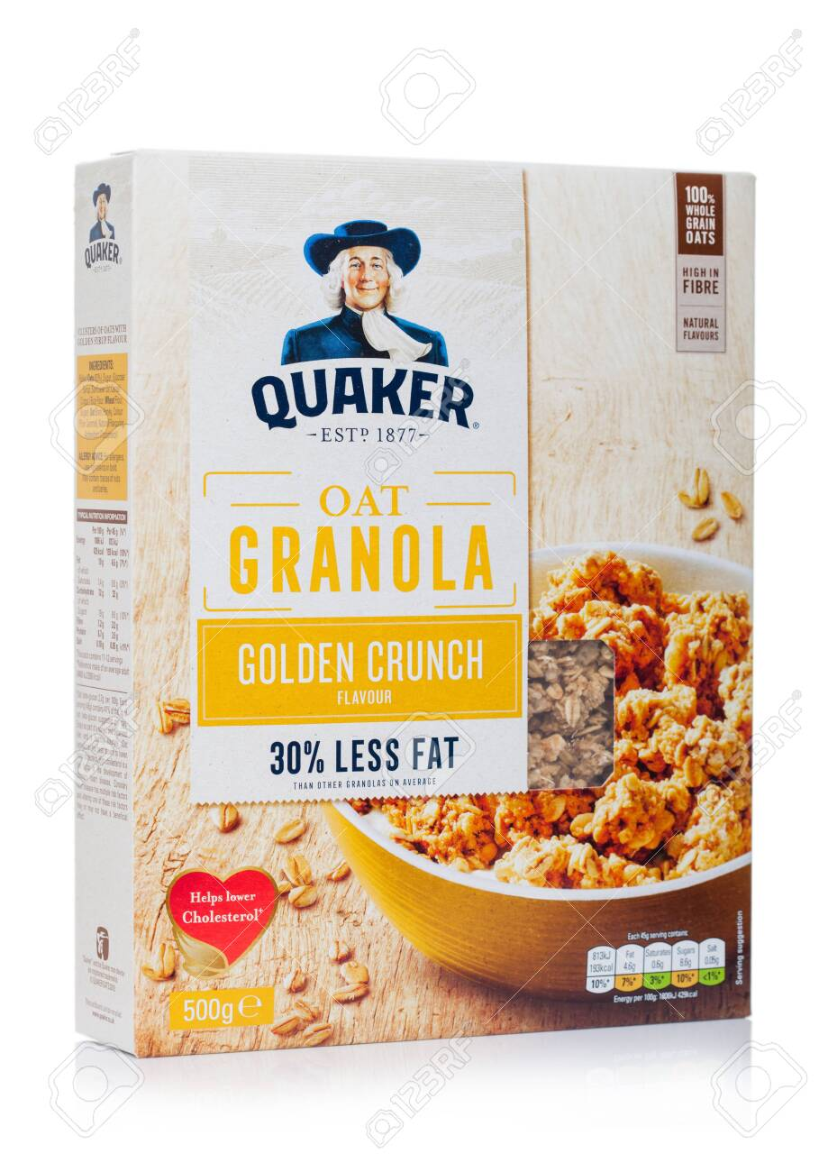 London Uk April 01 2020 Box Of Quaker Oat Granola Golden Stock Photo Picture And Royalty Free Image Image 145726411