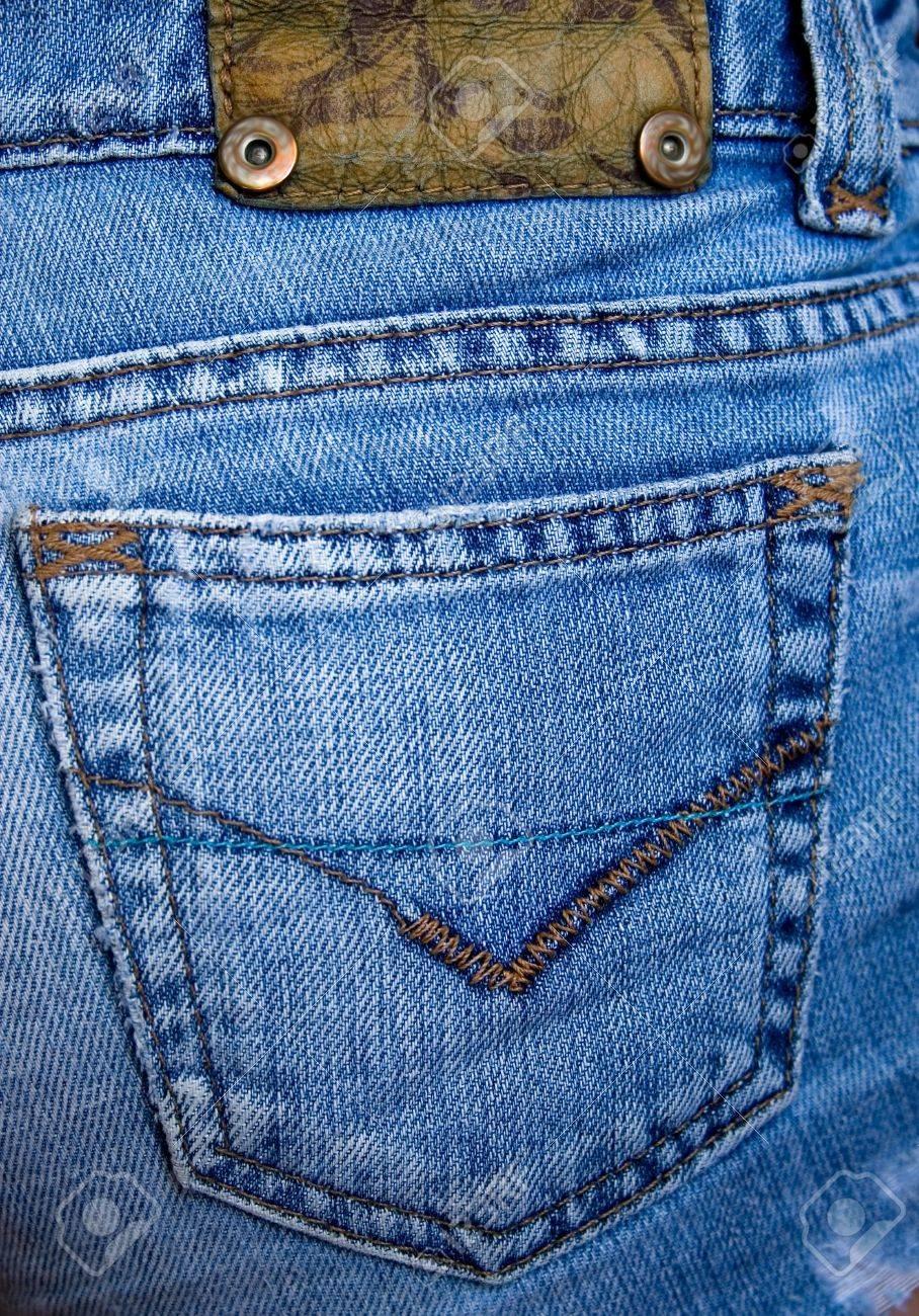 die groe hfte tasche blau schbig jeans mit einem muster standard bild 4491309 - Jeans Mit Muster