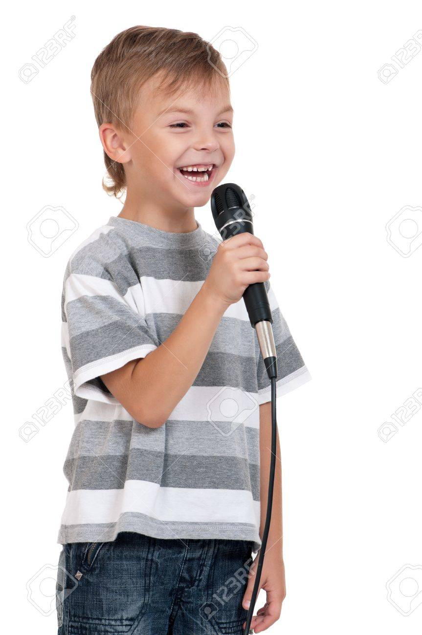 Little boy with microphone - isolated on white background Stock Photo - 12562232