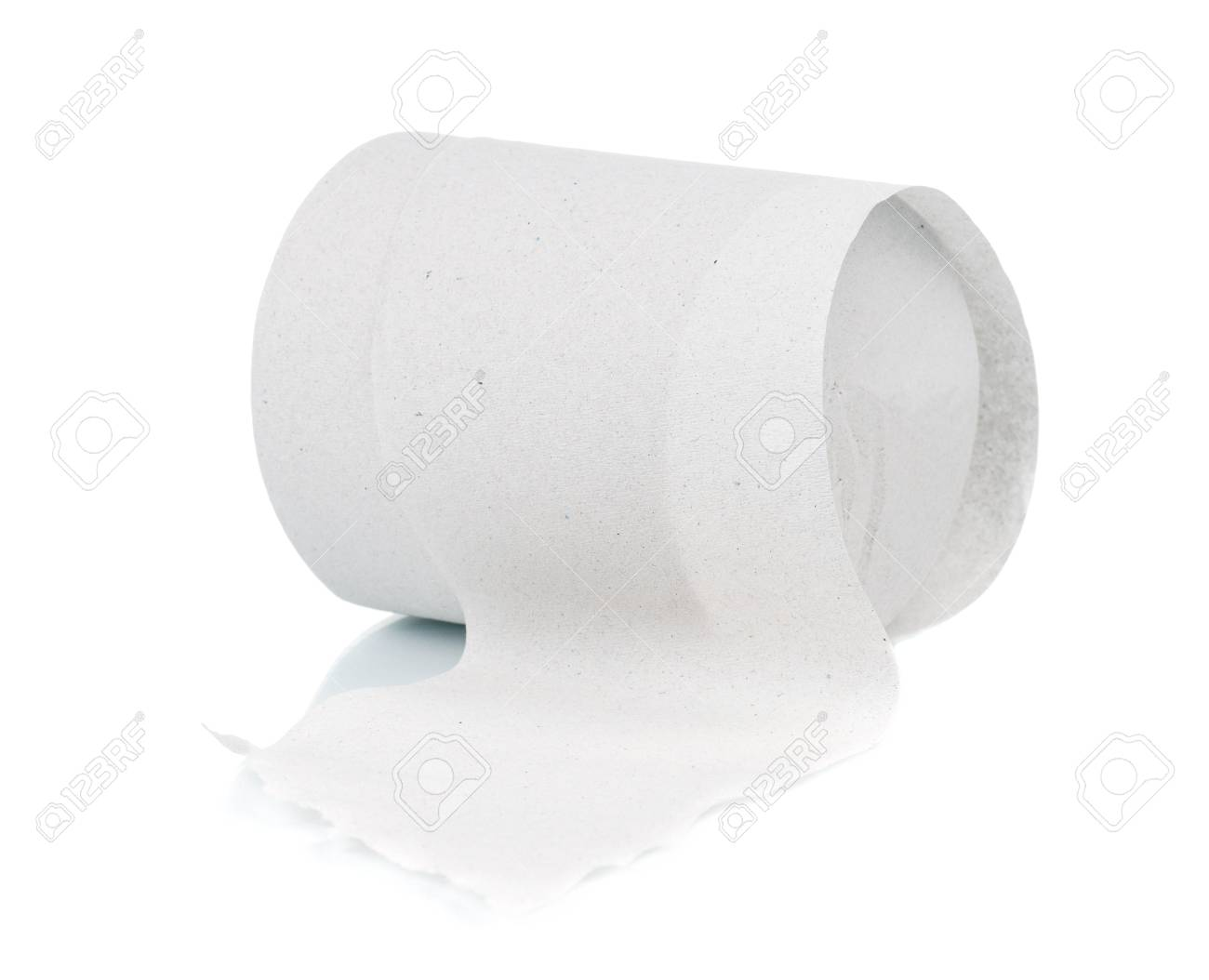 Single roll of toilet paper isolated on white background Stock Photo - 12562106