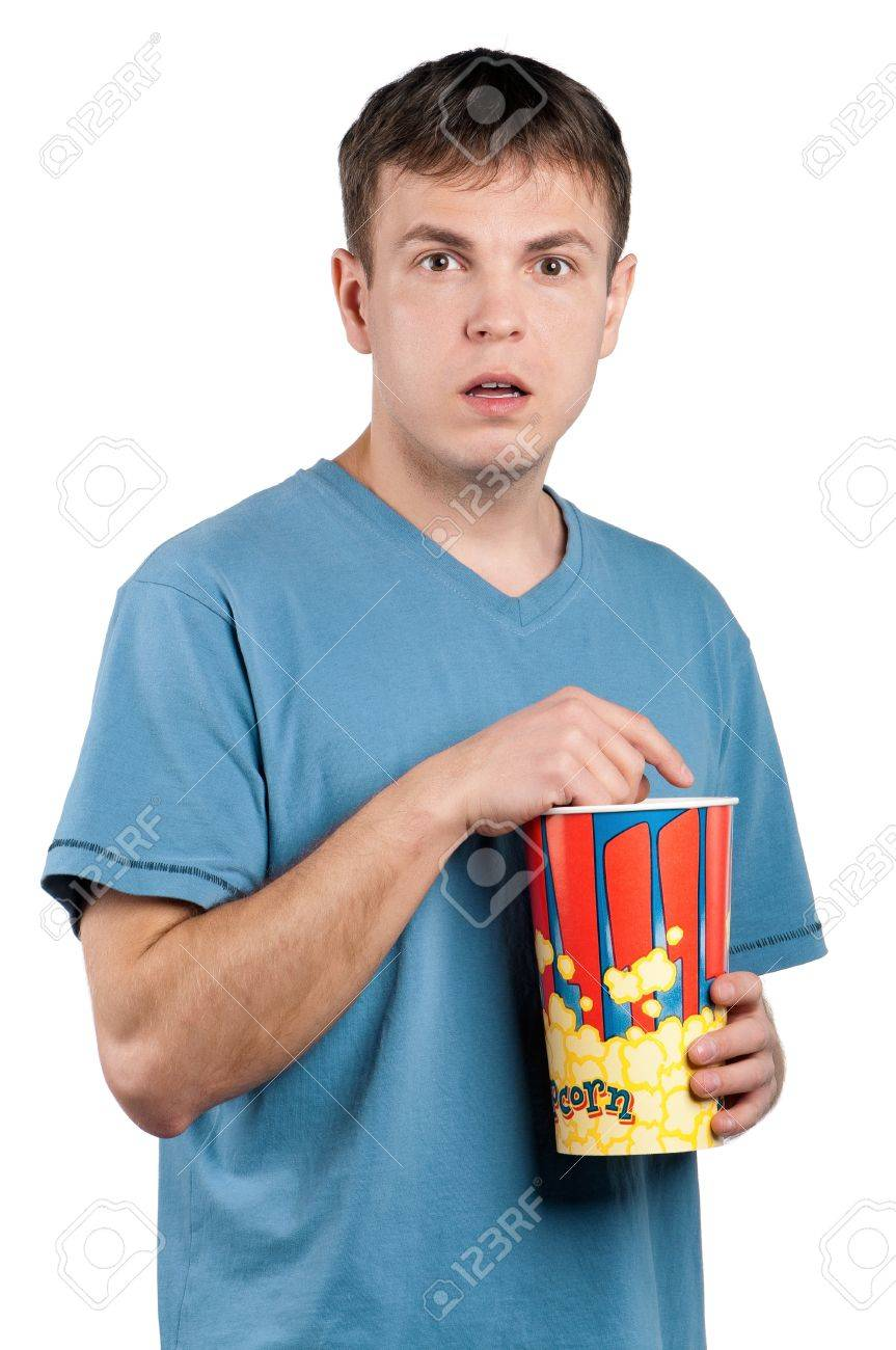 Portrait of man with popcorn on isolated white background Stock Photo - 12901108