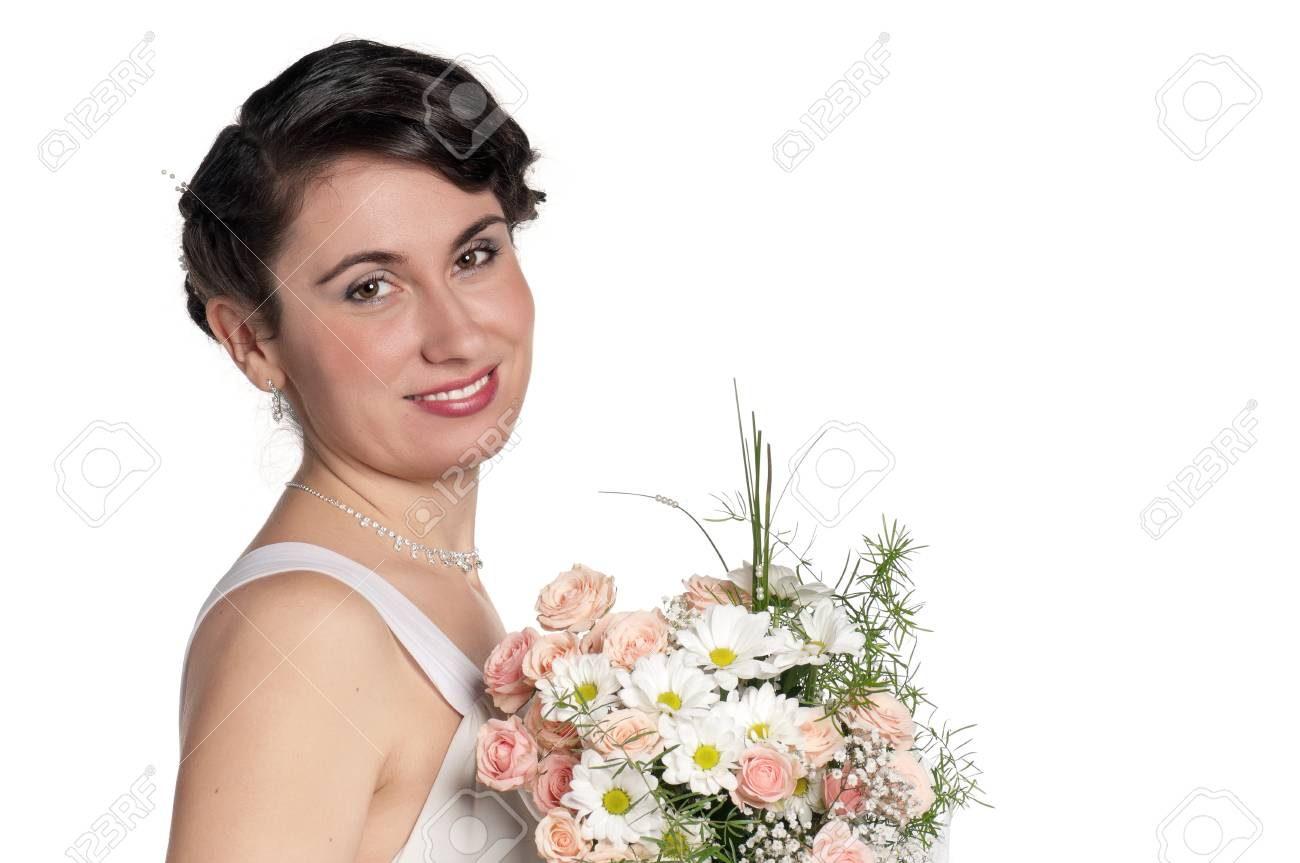 Portrait of happy bride on white background Stock Photo - 13144404