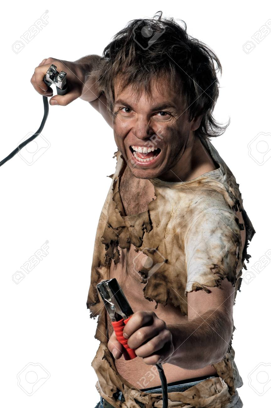 Portrait of crazy electrician over white background Stock Photo - 13145548