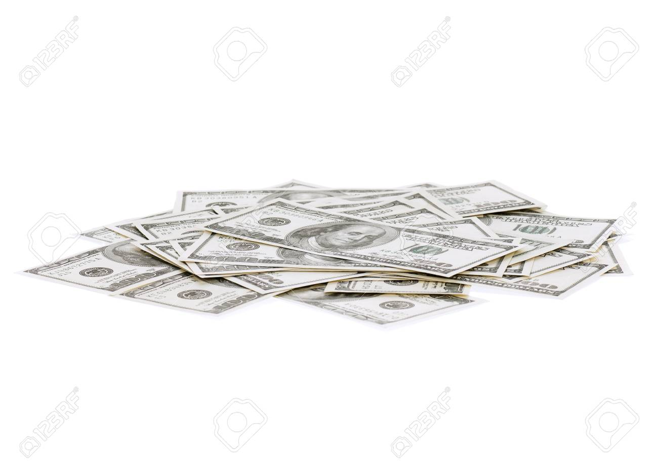 Heap of dollars isolated on a white background Stock Photo - 14764800