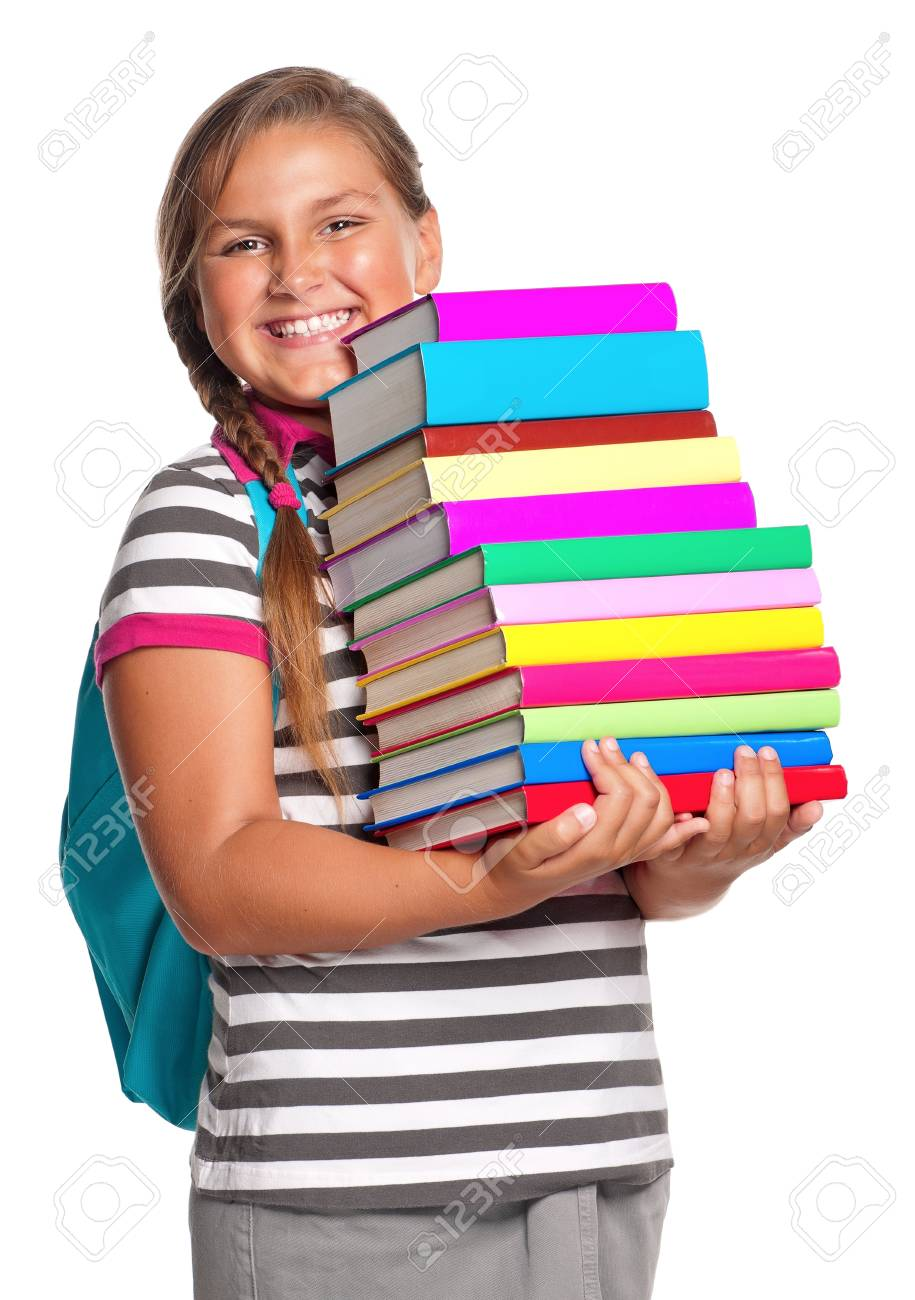Happy girl with books isolated on white background Stock Photo - 15408978
